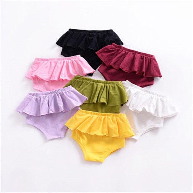 0d2b32b19e Niño bebé niña Bragas Pantalones recién nacido Bloomer cubierta del pañal  Bragas brief algodón volantes algodón