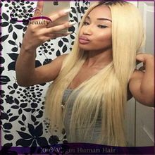 Brazilian Full Lace Wigs/Lace Front Wigs Glueless Straight Dark Roots Blonde Ombre Human Hair Wigs T1b/613 Two Tone Ombre Wigs