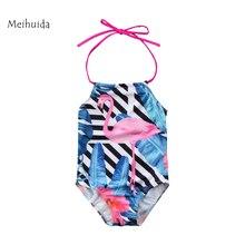2018 Kids Girls Flamingo Swimwear Infant Kids Girls Sleeveless Halter Swimsuit Bikini Swimming Children  Girls Beachwear 3-8Y