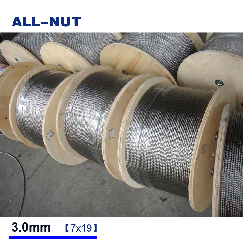 3mm wire rope , 20meter/lot , 7*19 , 304 stainless steel wire rope , 3mm cable wire rope 1 8 3 16 wire rope guardrail accessories 316 stainless steel protector sleeve cable grommet