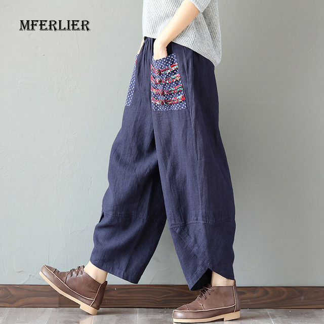 Woman Trousers Cotton Linen Loose Trousers Wide Leg Pants Elastic Waist Vintage Womens Casual Harem Pants