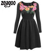 Zeagoo Floral Print Vintage Dress Women Backless Sexy Evening Party Flowers Dress Plus Size 1950s Elegant
