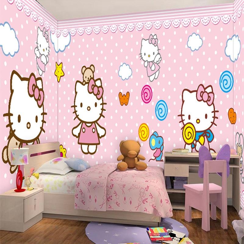 Personnalisé Toute Taille 3D Chat de Bande Dessinée Mur Mural Papier Peint  Filles de Chambre Salon Enfants Chambre Photo Papier .