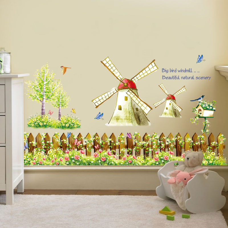 Pastoral Style Rustic Windmill Wall Stickers Removable PVC Wall ...
