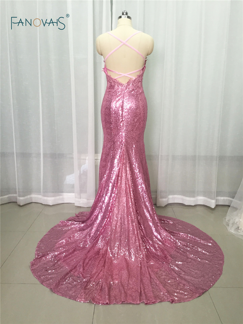 abfbacf371b4 Aliexpress.com : Buy Sexy Pink V Neck Lace Appliques Bodice Floor Length  Long Open Back Sequin Mermaid Prom Dress With Train 2019 Evening Gowns PB07  from ...