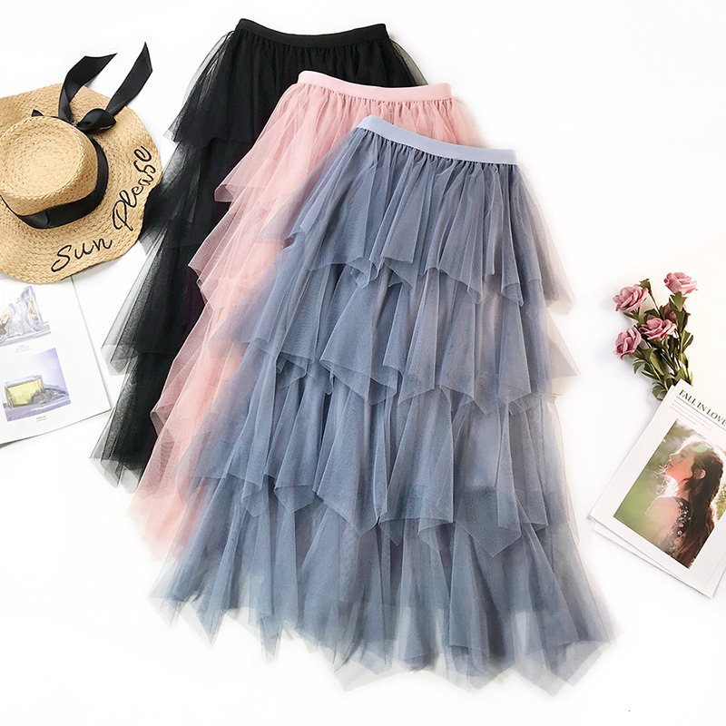 Wasteheart Autumn Women Fashion Pink Blue Black Skirt Mesh High Waist Lace Ruffles Pleated Ankle Length Long Chiffon
