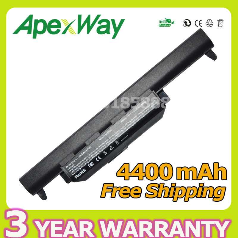 Apexway 4400mAh X55A Battery for Asus A32 K55 A32-K55 A41-K55 A45 A55 A75 K45 K55 K75 X45 X55 X75V R400 R500 R700 U57 Series 6cell laptop battery a32 k55 a33 k55 a41 k55 for asus x55u x55v x55vd x75 x75a x75v x75vd k55
