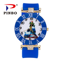 New Fashion PINBO Brand Gold Cute Birds Casual Quartz Watch Women Silicone Jelly Watches Hot Sale Ladies Clock Relogio Feminino