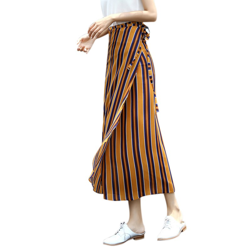 82073fcea450 2019 Summer New Fashion Women Vintage Bohemian Chiffon Long Skirts Boho Beach  Party Loose Striped Skirt