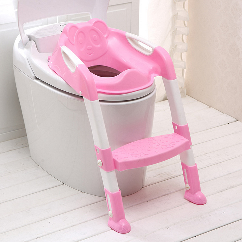 Step Stools Folding Baby Potty Infant Kids Toilet Training Seat With Adjustable Ladder Comfortable Backrest Cartoon Cute Pot