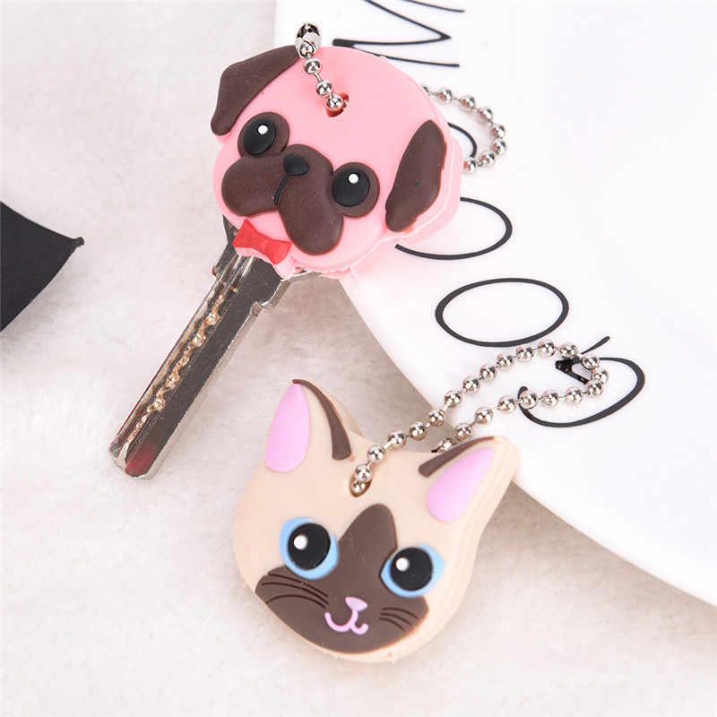 Funda de silicona con tapa para llavero de gato, hámster, perro, Pug, cabeza, animales, forma, joyería, regalo, llavero