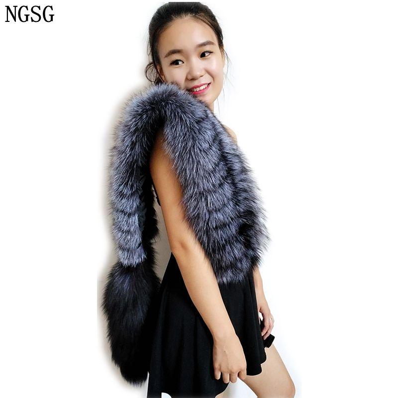 NGSG Genuine Silver Fox Fur Scarves stoles Shawl Europe Winter Fashion Removable Custom Striped Real Grey Fox Tail Scarf Female