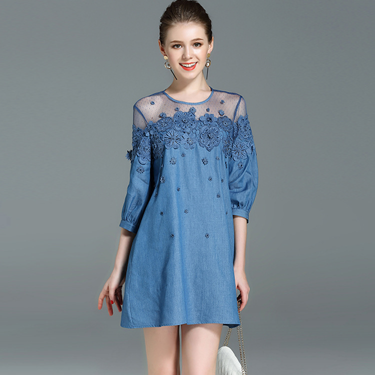 2017 Summer New Women's Three Quarter Sleeves O-neck Flower Embroidery Diamond Denim Dress Ladies Casual Short Blue Jeans Dress