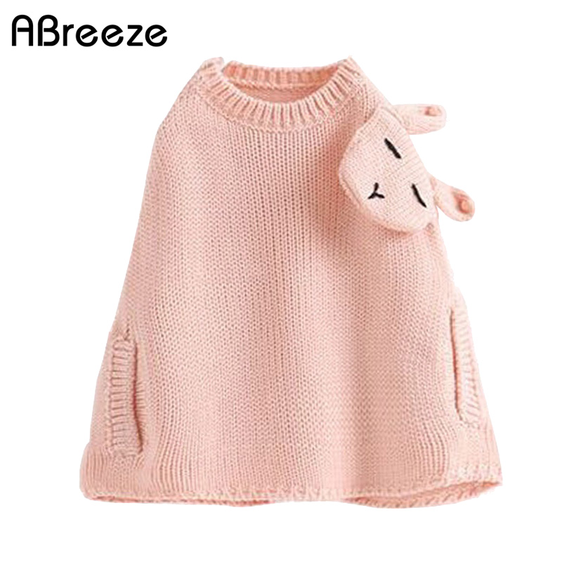 Abreeze girls sweater capes poncho 2017 Fashion autumn spring lolita style rabbit shoulder knitted cloak kids outwear for girls