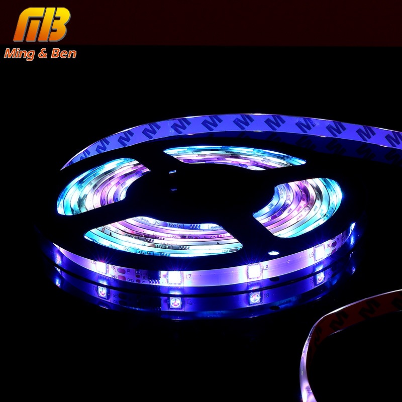5M LED Strip Smart Auto Changeable RGB DC12V SMD5050 30Leds Full Color Pixel IC Ditigal Individually Addressable Tape Light IP65 addressable 3d smart pixel ball dc24v
