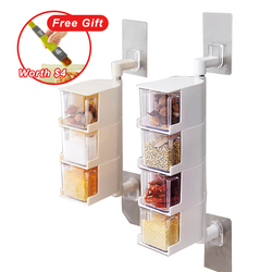 Seasoning Storage Boxes Spice Jar Kitchen Condiment Box Spices Storager Wall Hanging Rotating Kitchen Organization Tools