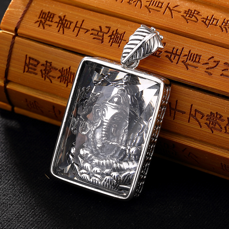 S925 Sterling Silver Antique Thai silver inlaid trunk nose square pendant Joker chain sweater chain pendant wholesale thai silver wholesale s925 silver inlaid white crystal pendant antique statue of guanyin pendant hollow
