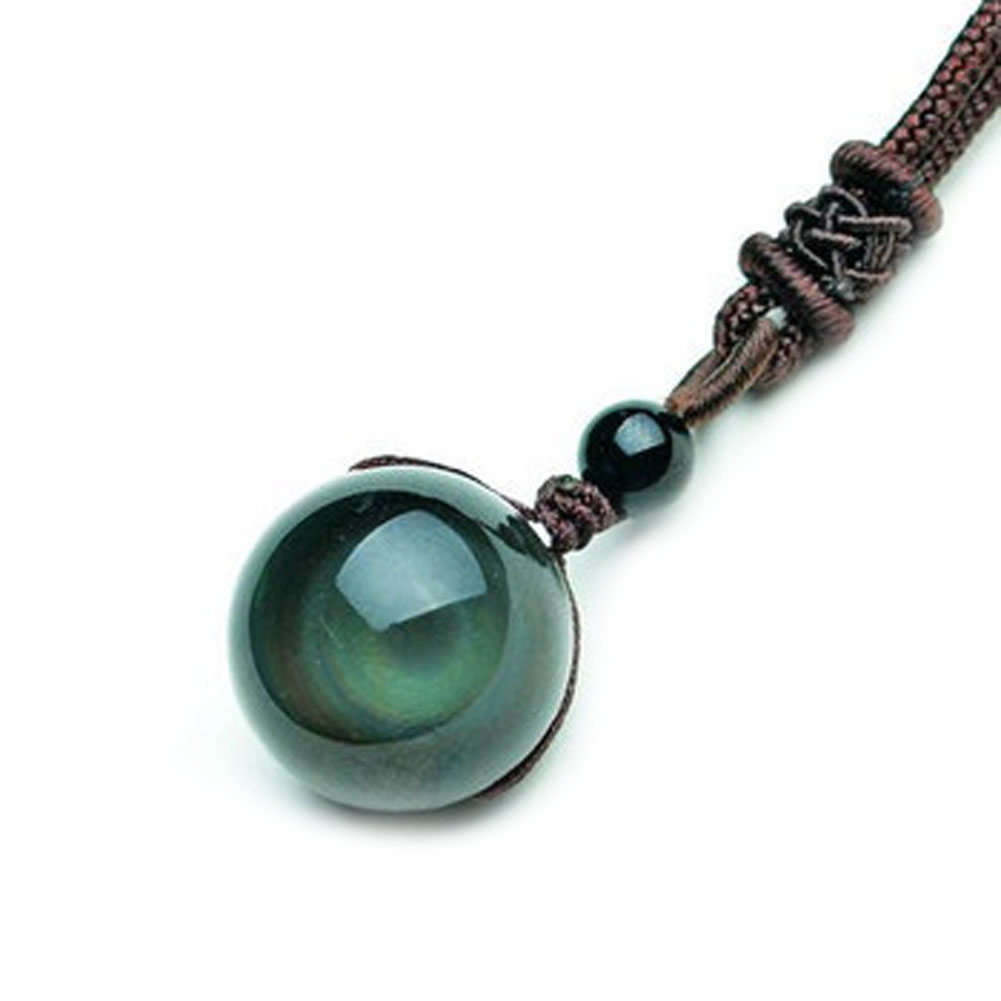1/2/3/4PCS Vintage Shining Lucky Stone Black Crystal Bead Rainbow Eye Gloss Pendant Obsidian Necklace Rope Chain Women Jewelry