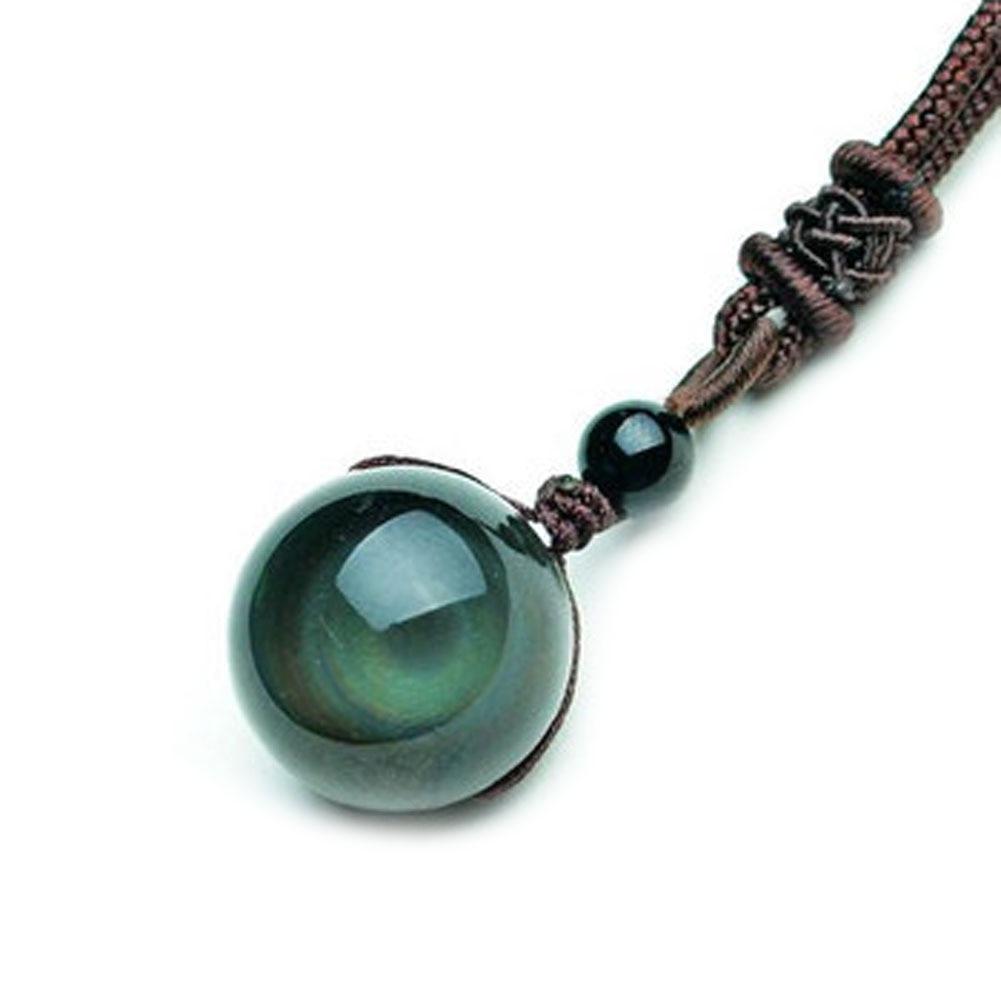 1/2/3/4PCS Vintage Shining Lucky Stone Black Crystal Bead Rainbow Eye Gloss Pendant Obsidian Necklace Rope Chain Women Jewelry