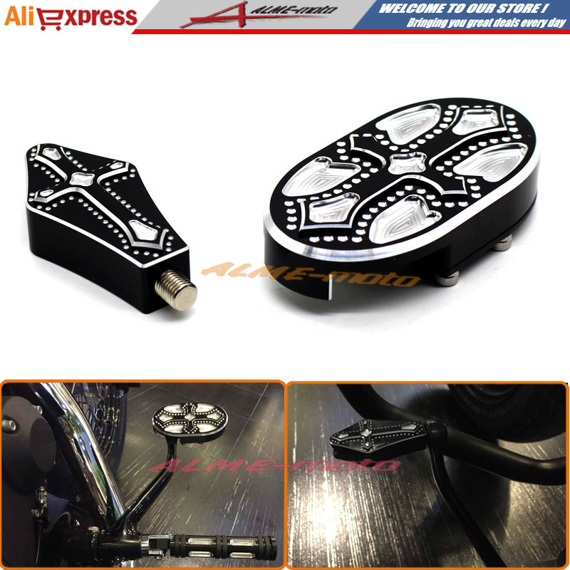 ФОТО Motorcycle CNC Billet Aluminum Brake Pedal Pad Cover + Shift Shifter Peg For Harley Sportster XL883 XL1200 48 Cross Designed