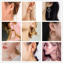 2019 New Fashion Simple Gold Color Silver Geometric Big Round Earrings for Women Circle Drop Earrings Statement Brincos Jewelry(China)
