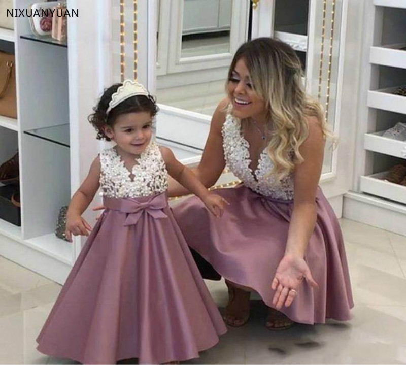 Sexy Short Prom Dresses 2020 Dusty Pearls V-Neck Sleeveless Prom Wedding Party Gowns Vestido festa Soriee Mother Daughter Dress