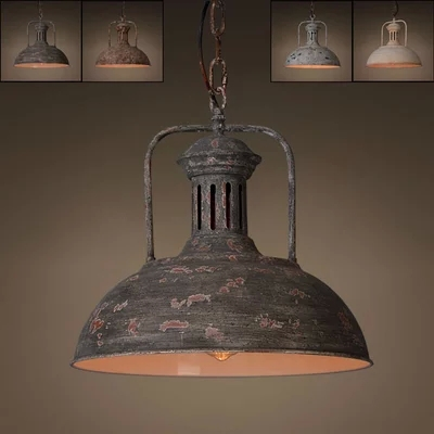 Vintage industrial rust pendant hanging light rustic retro art vintage industrial rust pendant hanging light rustic retro art deco lamp fixture blackwhitered in pendant lights from lights lighting on aliexpress aloadofball Choice Image