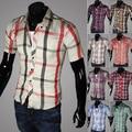 2015 de Alta Calidad Famosos Hombres de la Marca de Moda 16 color de la tela escocesa venta de Camisas a Cuadros de manga larga camisa de los hombres Calientes Ocasionales Adelgazan ajuste