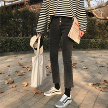 2 Color Mihoshop Ulzzang Corea mujeres moda ropa alta cintura Casual Preppy  Denim Jeans vaquero Pantalones cdee451c7b7c