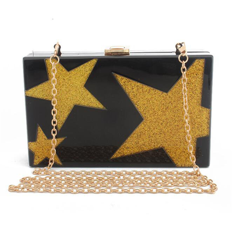 Handbags Casual-Day-Clutch Acrylic Unique Evening-Bag Star-Shoulder-Bag Party Elegant