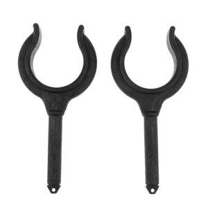 Image 1 - Cañas de pescar gancho de barco soporte de paleta, 2 piezas hechas de Nylon (negro) Horquilla de timón pasador de espiga Llave de remo