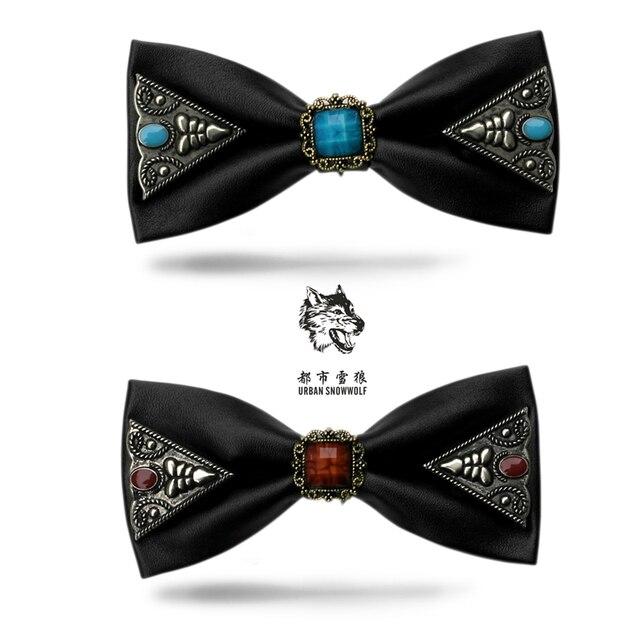 New Free Shipping fashion casual Men's male PU black gem inlaid metal tie Korean wedding leather fashion personality tie on sale