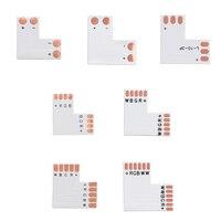 5 uds L T X forma RGB tira de LED RGBWW Conector de esquina placa PCB mm 8mm 10mm 12mm 2pin 3Pin 4pin 5pin 6Pin Color único RGB RGBW