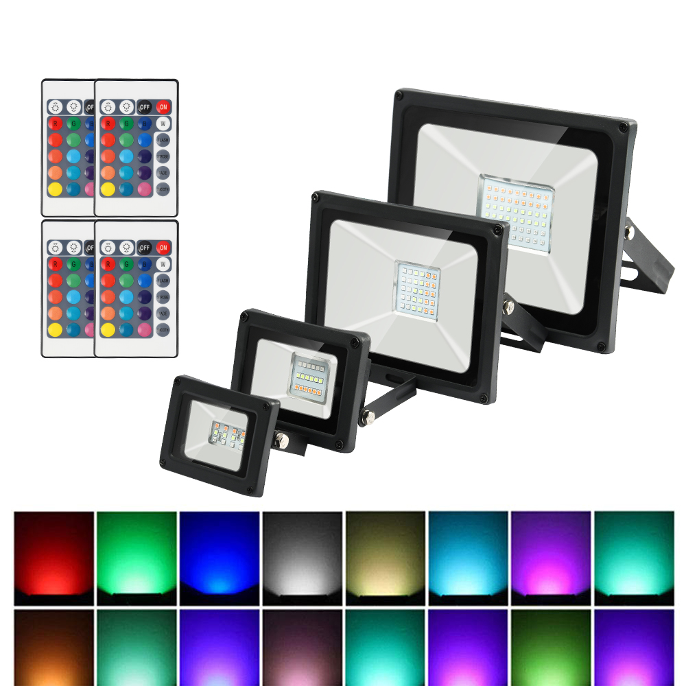 RGB LED Flood Light Waterproof 10W 20W 30W 50W 220V Colorful Remote Control Outdoor Wall Lamp Garden Projector