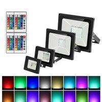 Luz LED de inundación RGB resistente al agua, 20W, 30W, 50W, 220V, control remoto colorido, lámpara de pared para exteriores, proyector de jardín