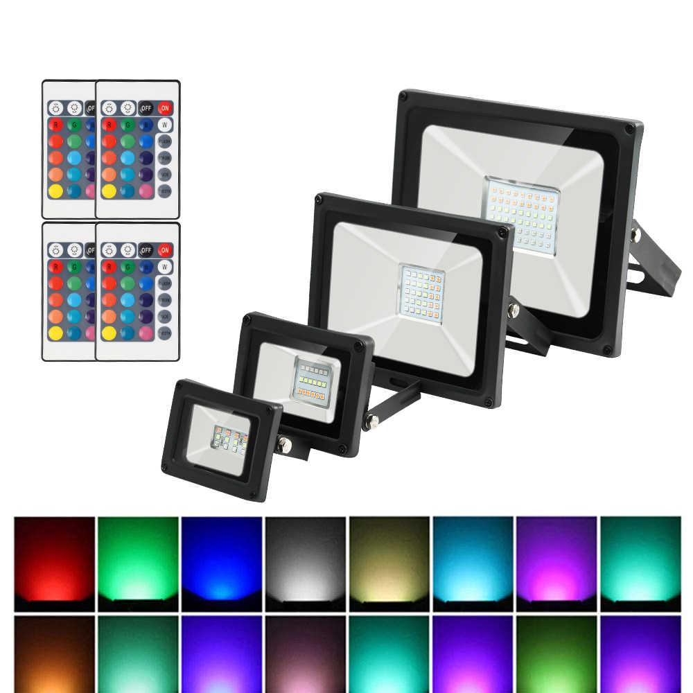 RGB LED Flutlicht Wasserdicht 10W 20W 30W 50W 220V bunte fernbedienung Outdoor Wand lampe Garten Projektor