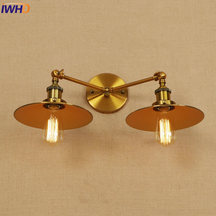 IWHD Vintage Industrial LED Wall Lamp E27*2 Iron Retro Loft Wall Light RH Simple Bedside Light Fixtures Home Lighting Luminaire iwhd iron pulley led wall lamp vintage industrial wall light rh retro loft bedside sconce fixtures for home lighting luminaire