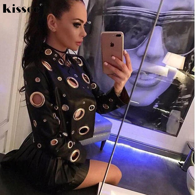 18d5ed25906 2018 Sexy Hole Out Metal O Ring Black PU Leather Jacket Slim Open Stitch  Long Sleeve Punk Hippie Gold Color Moto Biker Overcoat