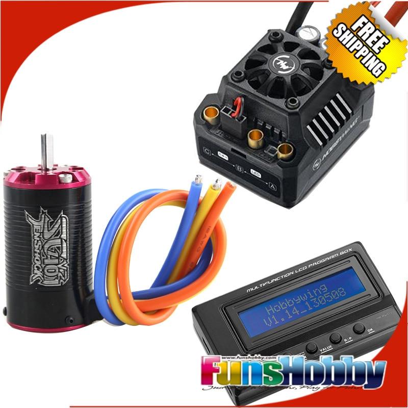 1 10 ESC Motor Combo Tenshock SC401V2 Hobbywing EzRun MAX10 120A SCT Waterproof Brushless ESC LCD
