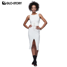 GLO-STORY Woman 2018 Summer Lace Up Casual Sleeveless  Dresses Women Elegant Bandage Dress WYQ-6023