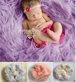Newborn Photography Carpet Baby Long Shag Faux Fur Basket Stuffer Blanket Photo Prop Backdrop Posing Blanket Satin 80*100CM