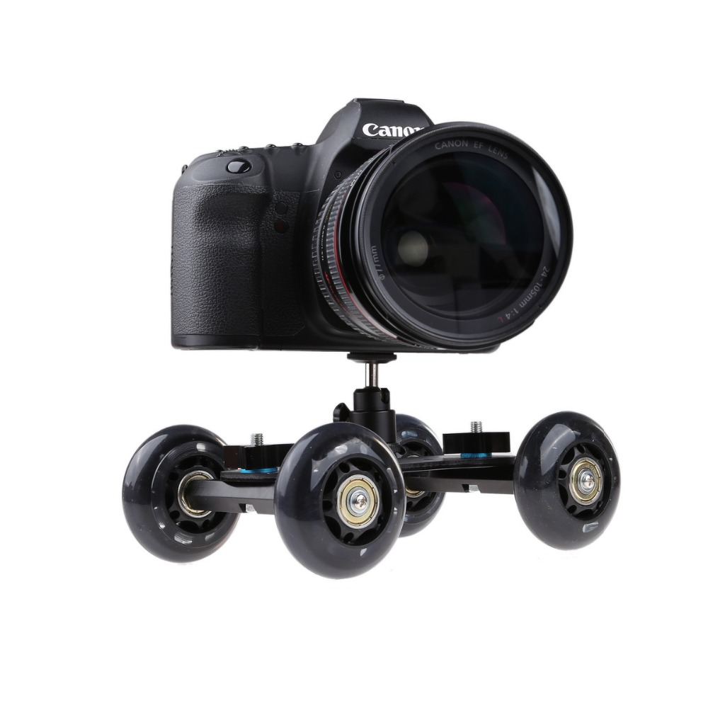 Black Portable Desktop Camera Dolly car Tabletop Video Slider Rail Track with Mini Ball Head for