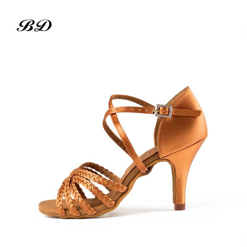 Baskets grande taille chaussures de danse salle de bal femmes chaussures latines talon mince marron Satin tissage lacets danse BDDANCE BD 216-B 2018