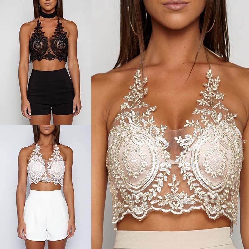 Women Sexy Criss Cross Caged Strappy Stash Crop Top Lace-Trimmed Bralette Bustier Padded Camis