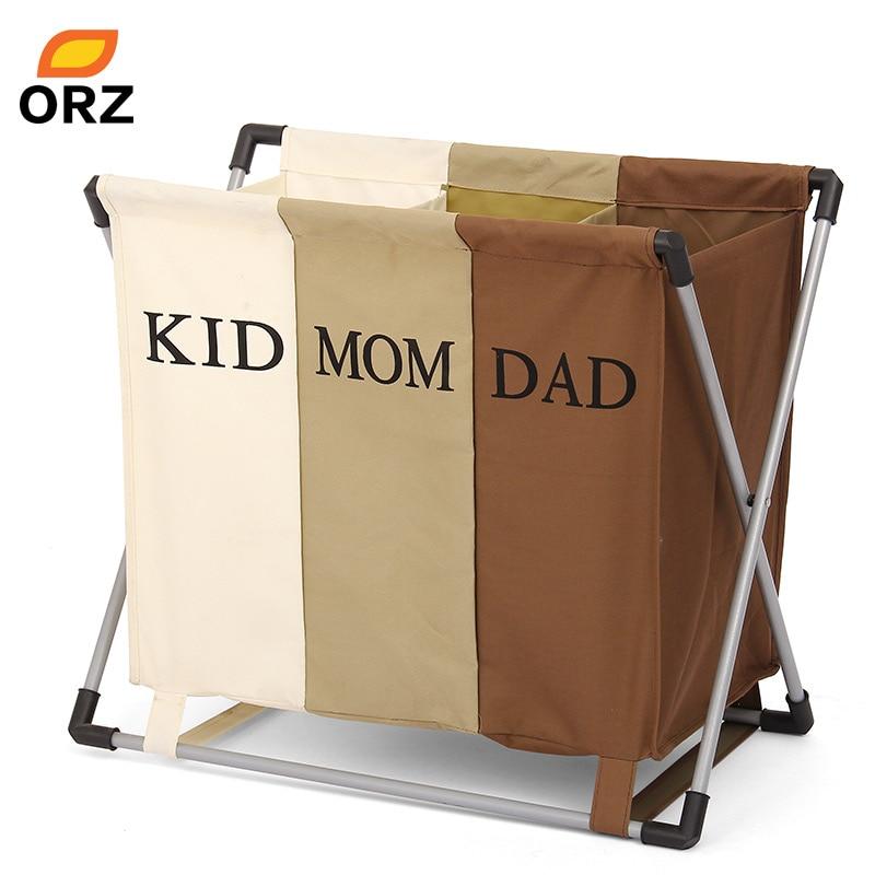 ORZ Bathroom Laundry Basket Three Grid Laundry Hamper Sorter Foldable Basket Box Necktie Socks Bag Bathroom