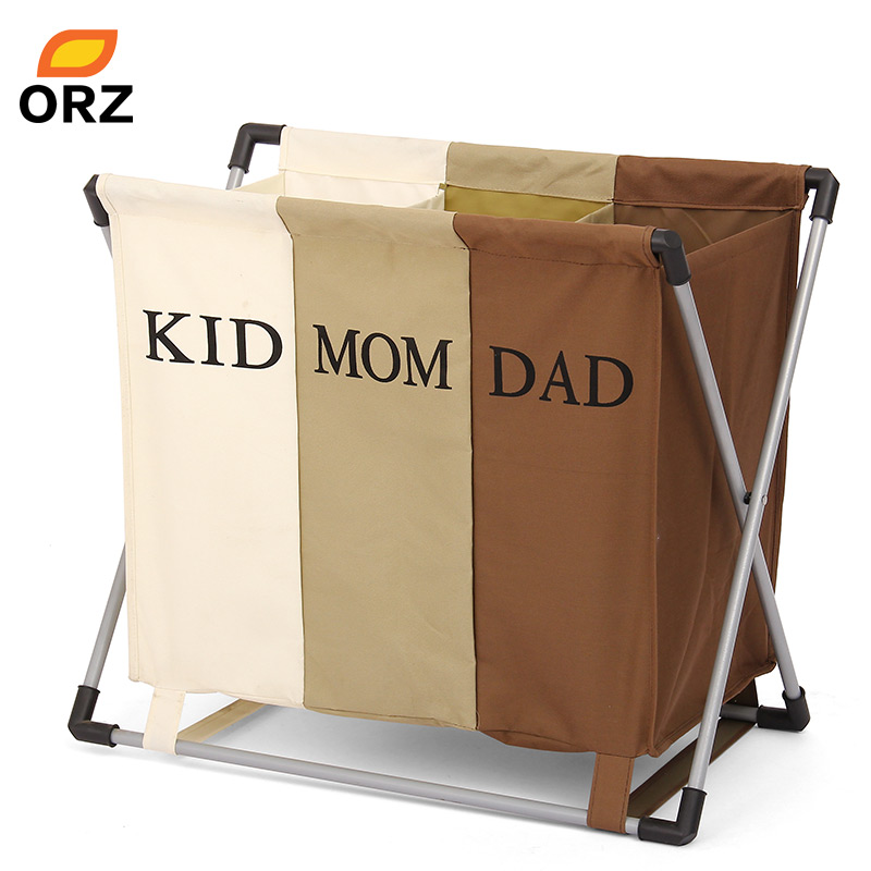 ORZ Laundry Basket Dirty Clothes Separated Three Grid Foldable Basket Necktie Socks Bag Waterproof Oxford Bathroom Storage Box
