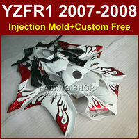 Hot sale red flame in white fairing set for YAMAHA YZFR1 2007 2008 fairings kits R1 YZF R1 bodyworks YZF1000 YZF 1000 07 08