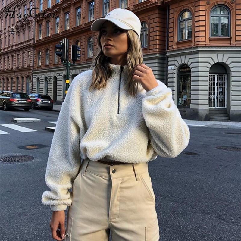 Кроп-топ Hugcitar, с длинным рукавом, на молнии, с высоким воротом, из искусственной овчины, 2018, осенне-зимняя женская мода, однотонное пальто, кур...