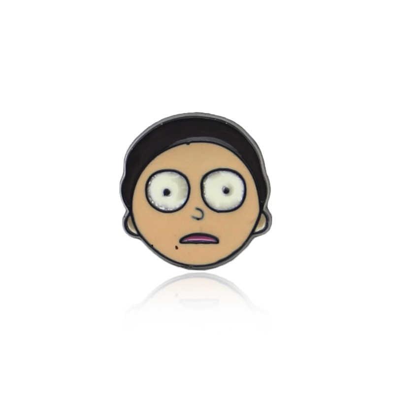 Hot Rick dan Morty Kartun Klasik Ikon Gaya Enamel Pin Lencana Tombol Bros Pecinta Anime Kemeja Denim Jaket Kerah Pin hadiah