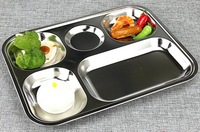 Deepen Thick 304 Stainless Steel Sub Grid Five Extra Dribbling Lunch Plates With Cover
